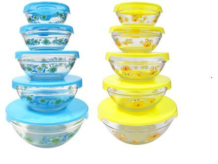 decorative glass bowls storage mixing bowls in blue yellow 5 bowls 5 lids ebay. Black Bedroom Furniture Sets. Home Design Ideas