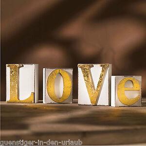 deko buchstaben love dekobuchstaben schriftzug wanddeko wei gold ebay. Black Bedroom Furniture Sets. Home Design Ideas