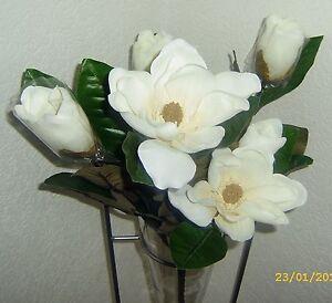 deko seidenblumen strau kunstblumen magnolien wei 6 bl ten 5 zweige 65 cm ebay. Black Bedroom Furniture Sets. Home Design Ideas