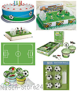deko set fu ball tortendeko zuckersticker kuchendeko muffindeko kerzen party ebay. Black Bedroom Furniture Sets. Home Design Ideas