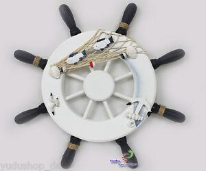 deko steuerrad schiff holz fischernetz muscheln fische maritime deko 33cm ebay. Black Bedroom Furniture Sets. Home Design Ideas