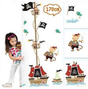dekosticker messlatte wandtattoo wandbild kinder kinderzimmer junge piraten ebay. Black Bedroom Furniture Sets. Home Design Ideas