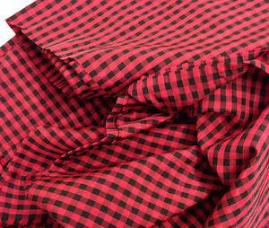 dekostoff stoff karo landhaus dirndl satin glanz kariert schwarz rot ebay. Black Bedroom Furniture Sets. Home Design Ideas