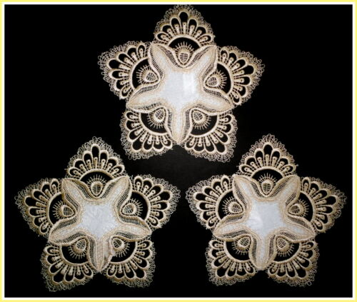 "Delicate Gold Trim  Lace  7""  Doily  ~ SET OF 3  ~  Estate Design"