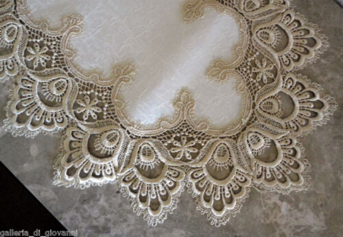 "Delicate Gold Trim Runner Lace 45"" Doily  Estate Design"