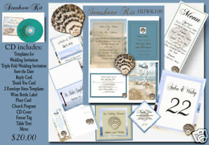 Delux Beach Themed Wedding Invitation Kit On Cd Ebay
