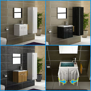 design badm bel waschbecken mit unterschrank spiegel g ste wc waschtisch ebay. Black Bedroom Furniture Sets. Home Design Ideas