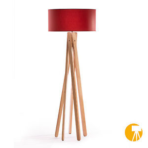 design stehlampe tripod leuchte buche holz h 160cm stativ stehleuchte rot ebay. Black Bedroom Furniture Sets. Home Design Ideas