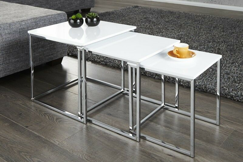 Détails Sur Design Table Basse D Appoint Zigon Lot De 3 Chrome En Blanc Haute Brillance