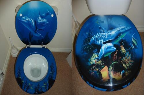 Designer novelty printed toilet seat dolphin design ebay - Toilet seats design ...