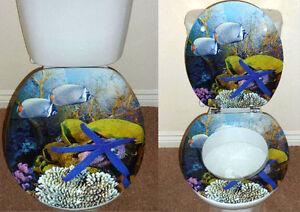 Designer novelty printed toilet seat fish star fish for Fish toilet seat