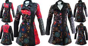 Designer-Patchwork-Mantel-Wintermantel-Wolle-Trenchcoat-Jacke-Gr-36-46-M-53