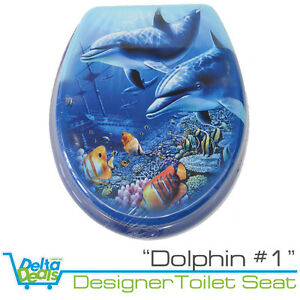 Dolphin 1 Designer Toilet Seat And Cover Poly Resin Finish