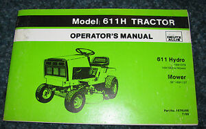 "Deutz Allis 611 Hydro Lawn Garden Tractor 36"" Mower Operators Owners"