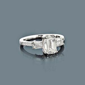 diamant ring platin 2 25 ct 1 50 karat smaragdschliff diamant im center g vs ebay. Black Bedroom Furniture Sets. Home Design Ideas