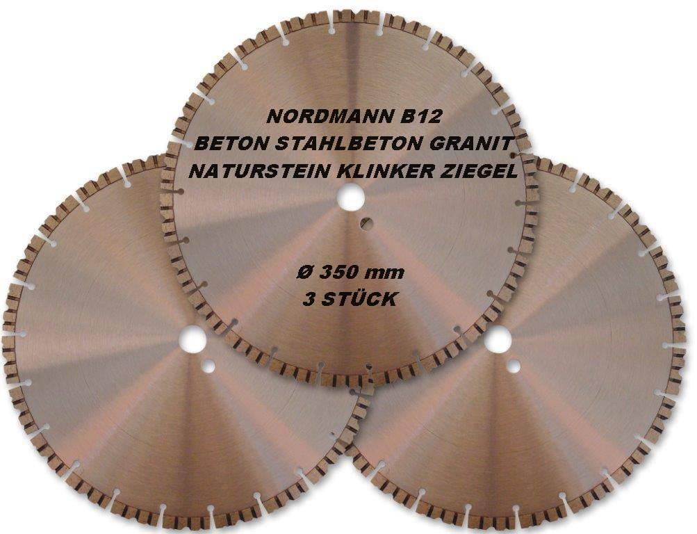 diamant trennscheibe diamantscheibe 350 x 25 4 mm nordmann b12 beton 3 st ck ebay. Black Bedroom Furniture Sets. Home Design Ideas