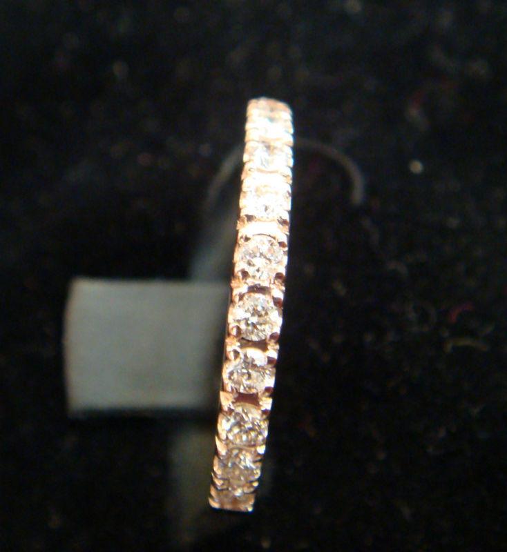 Diamond Wedding Band 14k Rose Pink Gold Ring Size 8