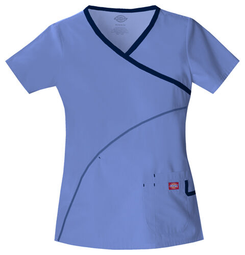 Dickies Soft Works Medical Scrubs Solid w Accent Top Pick Color Size
