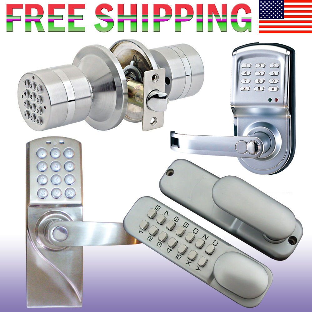 digital electronic code keyless keypad security entry door lock. Black Bedroom Furniture Sets. Home Design Ideas