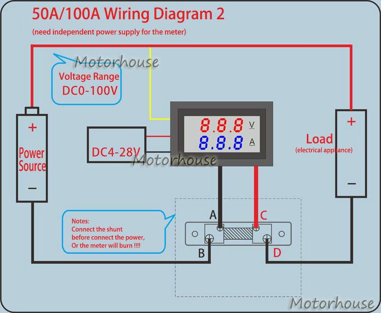 DC 0-100V 10A 50A 100A Digital Voltmeter Ammeter Dual LED Amp Volt ...