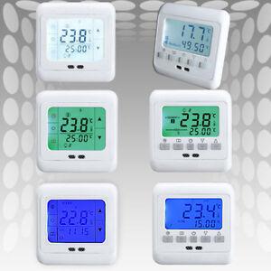 digital raumthermostat digitaler bodenf hler thermostat fu bodenheizung 16ampere ebay. Black Bedroom Furniture Sets. Home Design Ideas