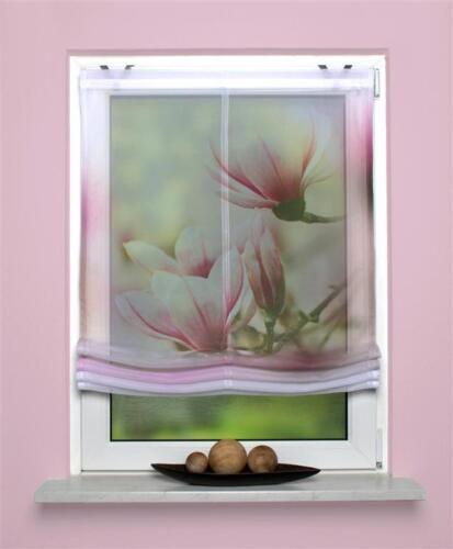 digitaldruck bedrucktes raffrollo 60 80 100x140 rollo magnene magnolie rosa ros ebay. Black Bedroom Furniture Sets. Home Design Ideas