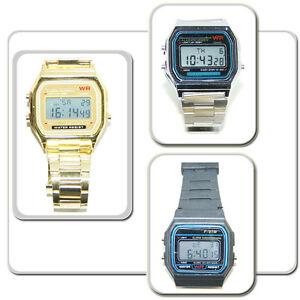 Digitale-Retro-Armbanduhr-viele-extras-Uhr-Alarm-Stoppuhr-Edelstahl-gold-silber