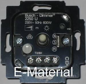 dimmer busch jaeger 2250 u drehdimmer 60 600w f r 230v. Black Bedroom Furniture Sets. Home Design Ideas
