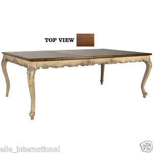 Dining table french country distress white mahogany top 72 to 108 new