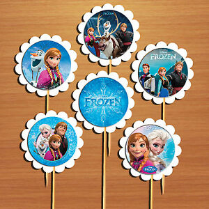 Disney frozen cupcake toppers cake picks x 6 table food decoration