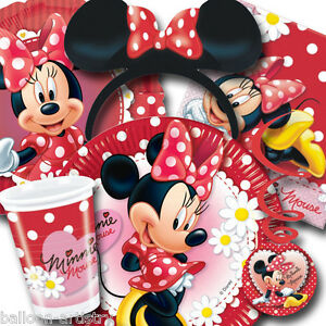 Disney Minnie Mouse Red Polka Dots Tableware Decorations All Under One ...