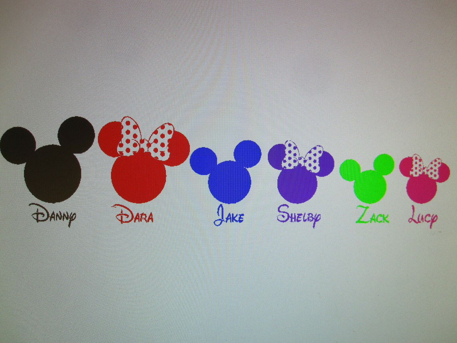 Disney MIckey Minnie PERSONALIZED family figure silhouette vinyl decal