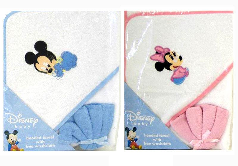 Disney Mickey Minnie Mouse Infant Baby Bath Hooded Towel w Washcloth Blue Pink