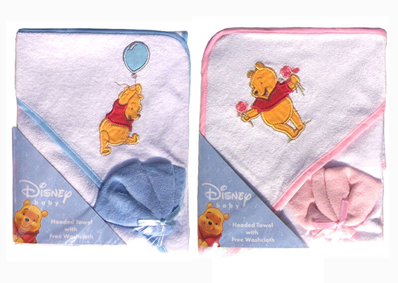 Disney Winnie The Pooh Infant Baby Bath Hooded Towel w Washcloth Blue ...