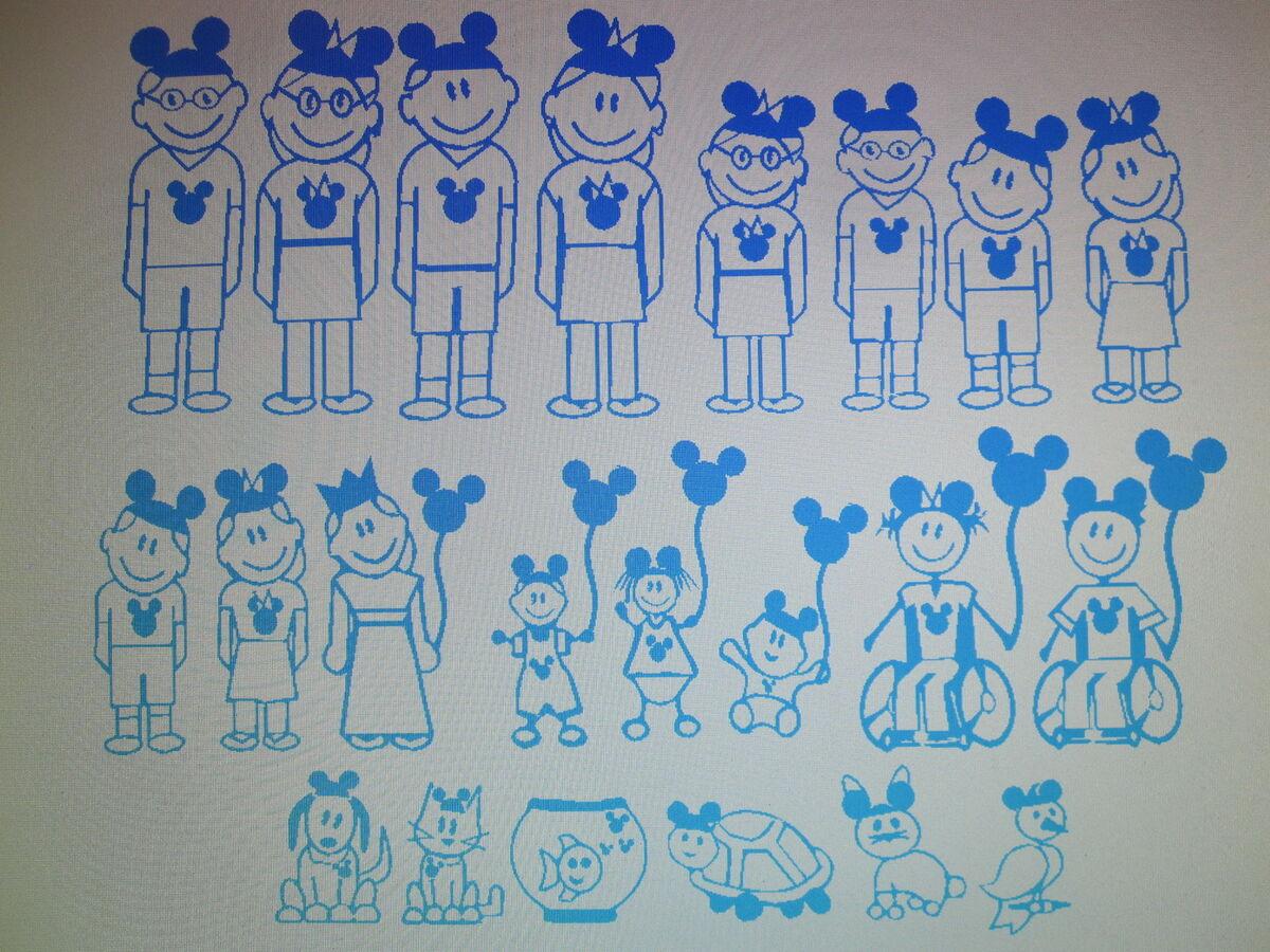 Disney stick figure family people Mickey decal sticker