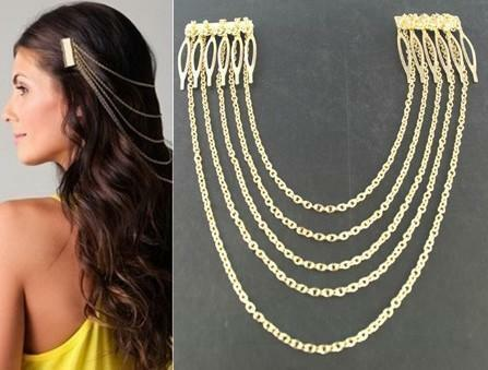Diva Celeb style fashion Egyptian Gold silver Hair Comb Chain Clip accessories
