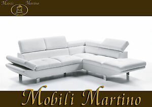 Divano angolare moderno in ecopelle bianco angolo salotto soggiorno relax sof ebay - Divano bianco ecopelle ...
