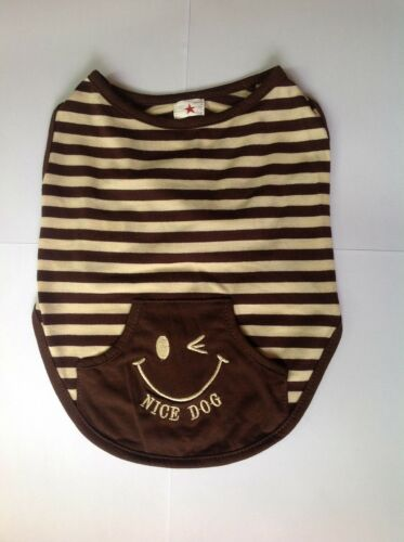"Dog Clothes Polo Shirt Stripy Brown ""NICE DOG"" Size SS S M DM L Free Shipping in Pet Supplies, Dog Supplies, Apparel 
