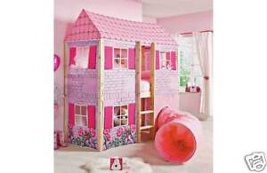 Dollhouse mid loft bed w curtains and tunnel ebay