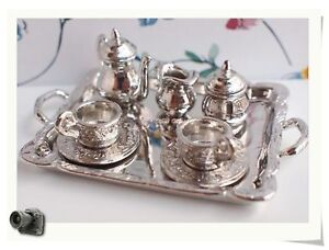 Dollhouse-Miniature-8-PCS-Metal-Silver-Tea-set-DM62