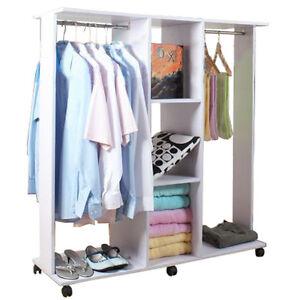 doppelseitiger offener kleiderschrank mit rollen wei yrbiwa163w ebay. Black Bedroom Furniture Sets. Home Design Ideas
