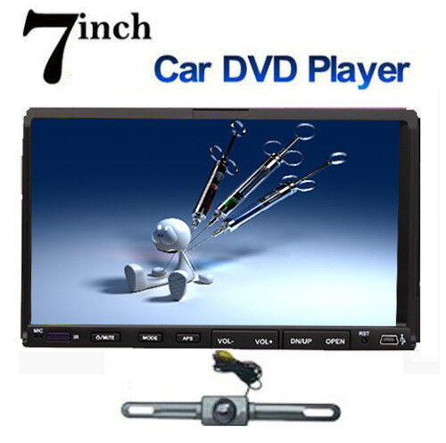 """Double 2 DIN 7"""" Car DVD CD  Player Touch Screen in Dash Stereo Radio Camera"""