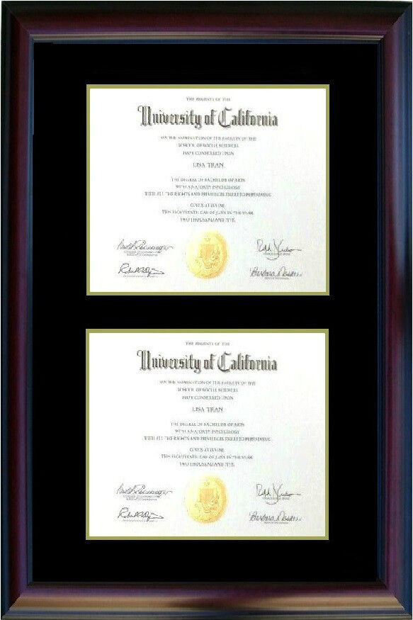 Double Diploma Photo Picture Frame Cherry Black Gift Mixed Size Honors ...
