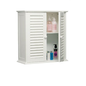 two shelf white bathroom wall mounted storage cabinet style ebay