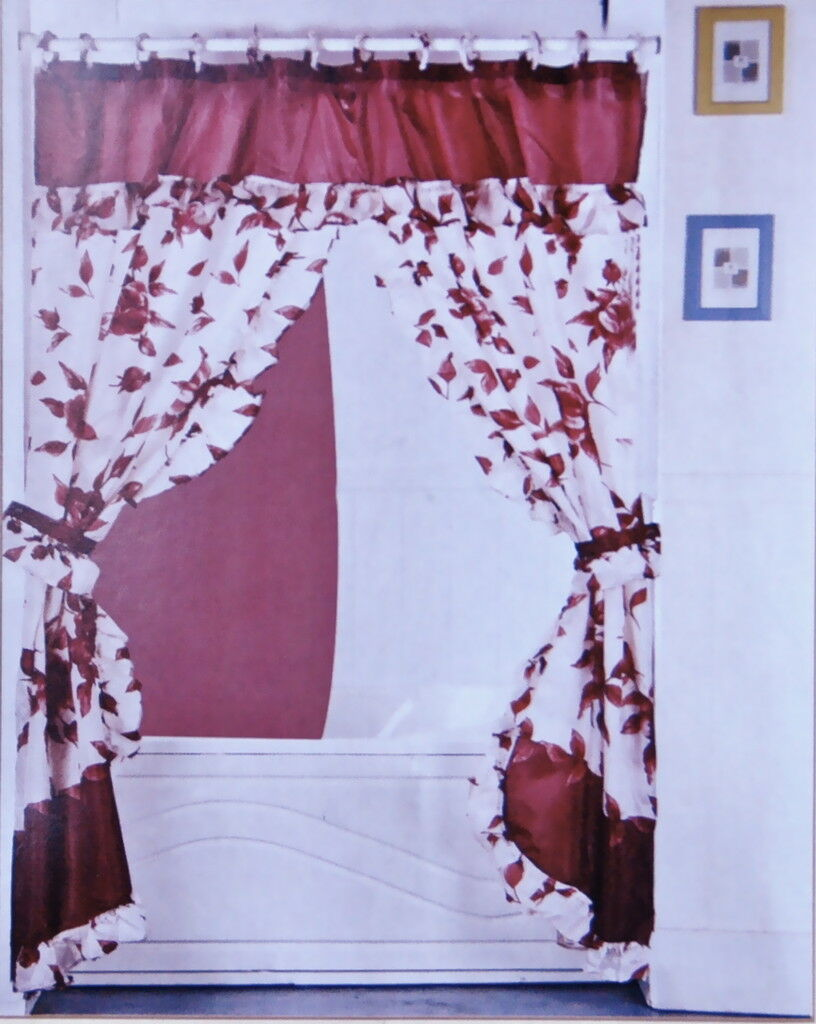 Double Swag Fabric Shower Curtain Vinyl Liner 12 Hooks On