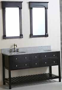 New 60 Bathroom Vanity In Black With 4 Doors 1 Open Bottom Shelf  Vanity