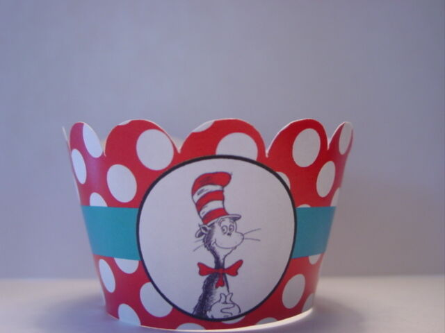 Dr Seuss Cat In The Hat Thing 1 Thing 2 Cupcake Wrappers Party