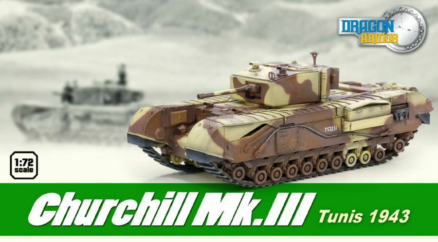 Dragon Armor 1/72 Scale Churchill Mk.III Tunisia WWII British Tank 1943 60569 60569
