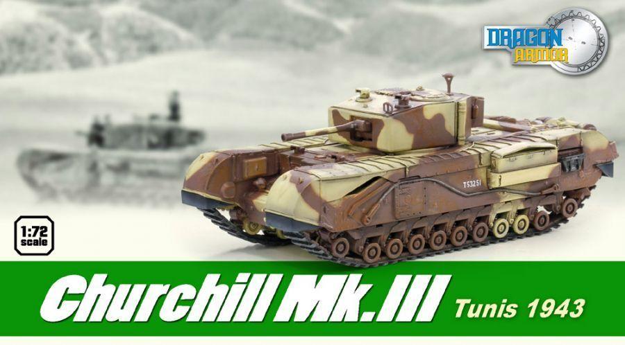 Dragon Armor 1/72 Scale Churchill Mk.III Tunisia WWII British Tank 1943 60569 #60569