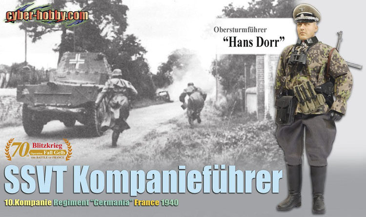 "Dragon Cyber-Hobby 1/6 Scale 12"" WWII German SSVT France 1940 Hans Dorr  #70798"